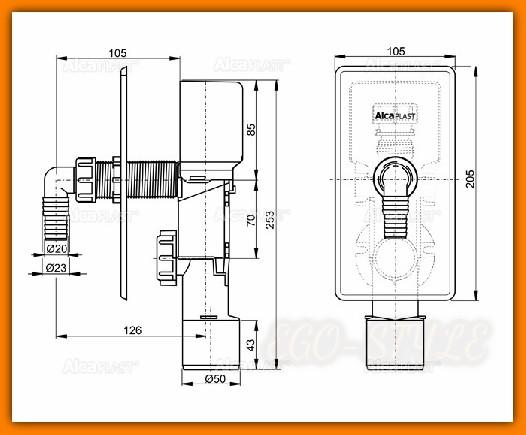 syfon pralki APS3P ALCAPLAST podtynkowy chrom z napowietrzaniem