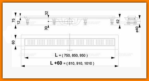 Odpływ liniowy APZ10-950M AlcaPLAST 95 cm odwodnienie liniowe z rusztem kpl. SIMPLE
