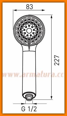 Rączka natrysku Cortessa S330 FERRO słuchawka prysznicowa 3-funkcyjna