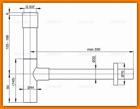 syfon A402 ALCAPLAST umywalkowy metalowy