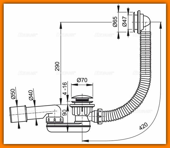 ALCAPLAST A506KM syfon brodzikowy KLIK-KLAK niski