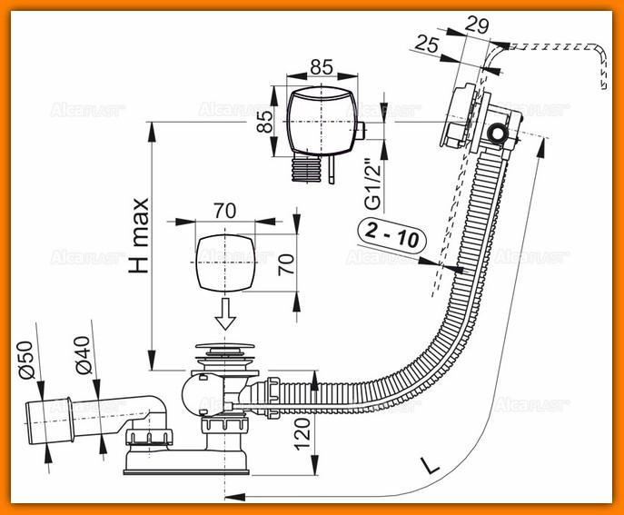 ALCAPLST A564CRM2 80 syfon wannowy z napełnianiem przelewem