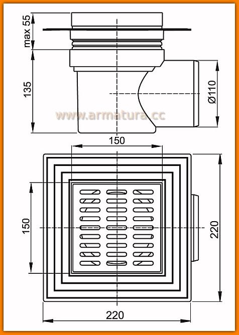 Kratka ściekowa 150×150/110 odpływ boczny APV12 AlcaPLAST