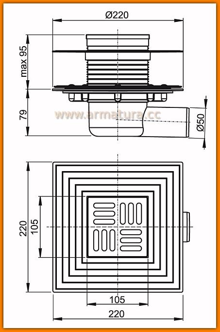 Kratka ściekowa 105x105/50 odpływ boczny APV1324 AlcaPLAST