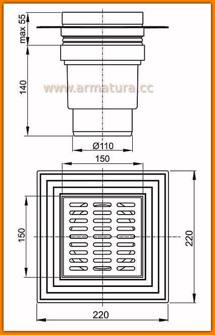 Kratka ściekowa 150×150/110 APV13 AlcaPLAST