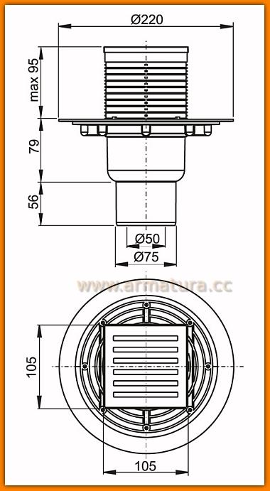 Kratka ściekowa 105x105/50 APV203 AlcaPLAST