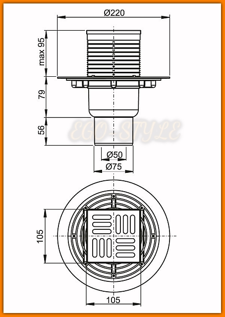 Kratka ściekowa 105×105/50/75 odpływ pionowy APV2321 AlcaPLAST kratka nierdzewna syfon SMART