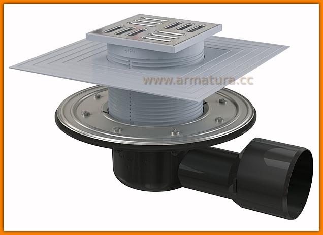 Kratka ściekowa 105x105/50/75 odpływ boczny APV3344 AlcaPLAST