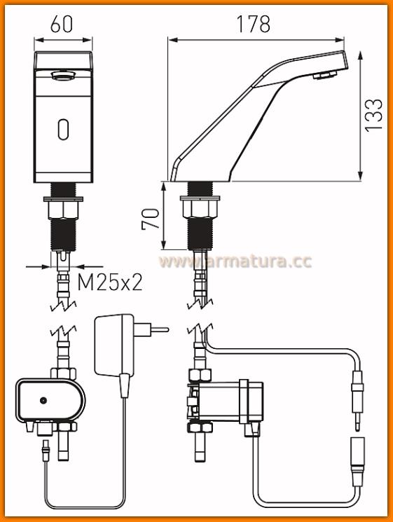 Bateria bezdotykowa umywalkowa Sirocco Sensor Power-Safe BBB101S FERRO