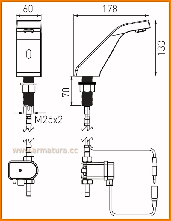 Bateria bezdodtykowa umywalkowa Sirocco Sensor BBB101 FERRO stojąca