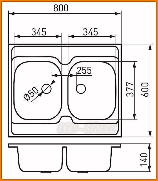 Zlewozmywak 2-komorowy DR60/80D.H FERRO 80x60 cm gładki nakładany
