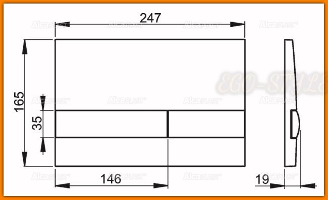przycisk spłuczki podtynkowej M1712-8 ALCAPLAST chrom-mat/czarny DELFIN