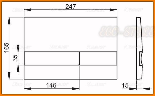przycisk spłuczki podtynkowej M1728-2 ALCAPLAST czarny/chrom-mat DELFIN