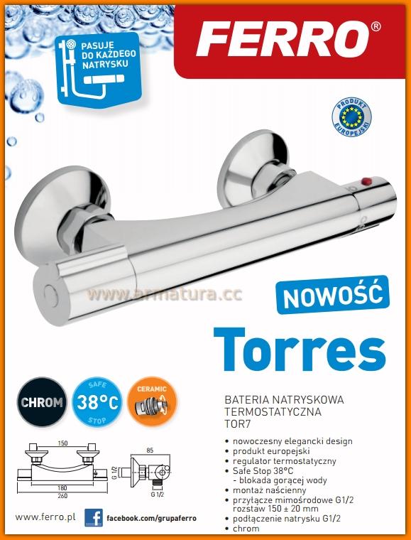 Bateria natryskowa termostatyczna TORRES TOR7 FERRO