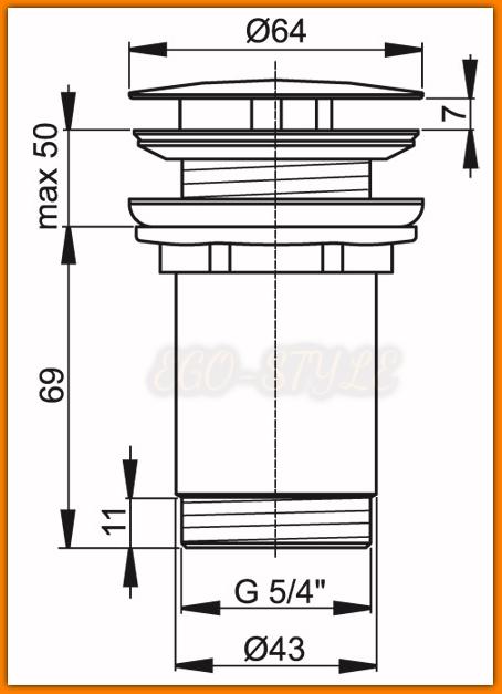 Korek umywalki A396 ALCAPLAST spust umywalkowy 5/4