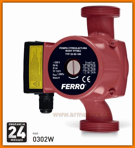 Pompa cyrkulacyjna do wody pitnej 0302W FERRO 32-60 180