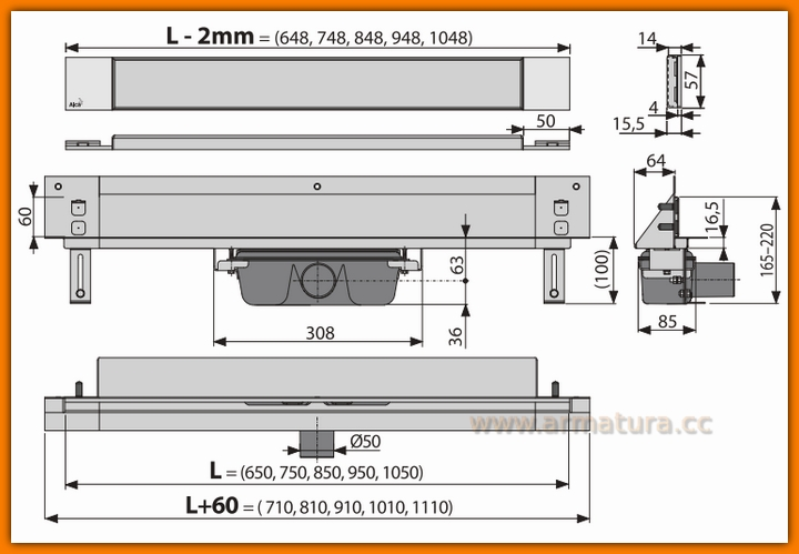 Odpływ liniowy APZ5-TWIN-750 Spa AlcaPLAST 75 cm odwodnienie liniowe ścienne