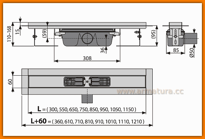 ALCAPLAST odwodnienie liniowe APZ6-750 Professional odpływ liniowy