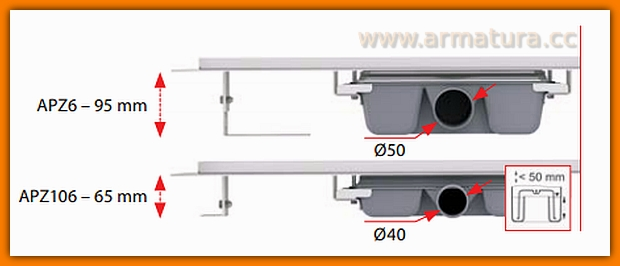 ALCAPLAST odwodnienie liniowe APZ6 apz106 Professional odpływ liniowy