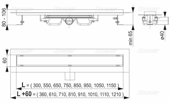 ALCAPLAST odwodnienie liniowe APZ106 Professional odpływ liniowy