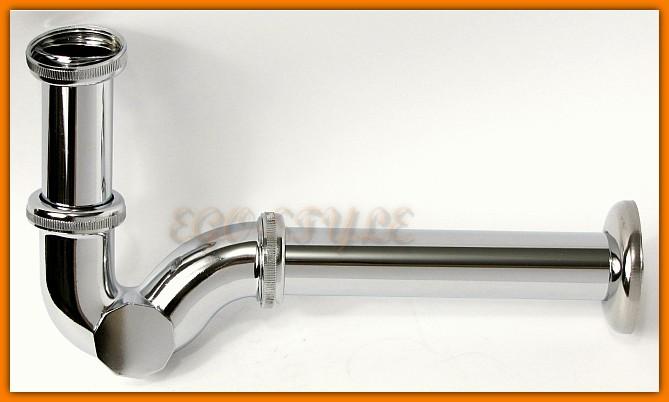 pół syfon rurowy umywalkowy, bidetowy, metalowy, chrom 225CB McAlpine