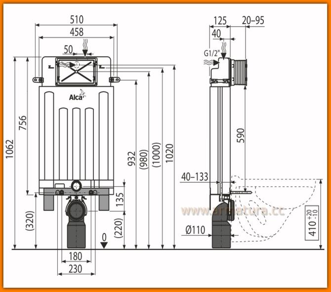 podtynkowa spłuczka WC do zabudowy ciężkiej A100/1000 ALCAPLAST