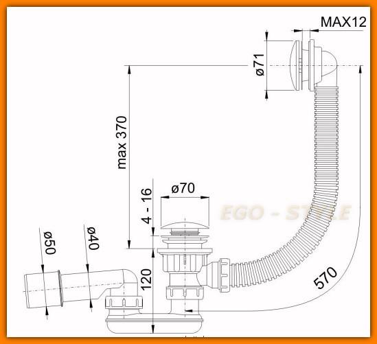 ALCAPLAST A504KM 100 syfon wannowy KLIK-KLAK