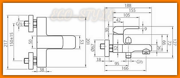 bateria wannowa KVADRO 35020/1.0 FERRO