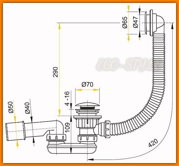 syfon brodzikowy KLIK-KLAK A503KM ALCAPLAST