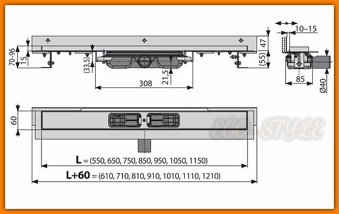 odpływ łazienkowy APZ104-550 ALCAPLAST Flexible Low