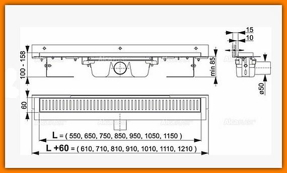 Odpływ liniowy APZ4-850 AlcaPLAST 85 cm Flexible odwodnienie liniowe z wygiętym kołnierzem