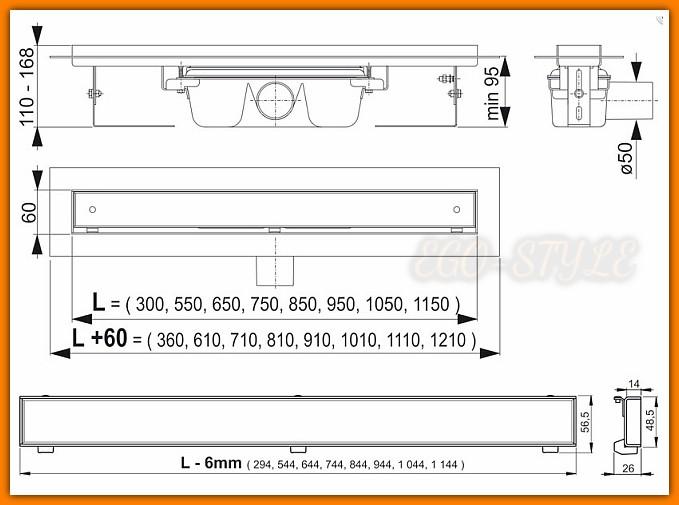 odpływ liniowy APZ7-FLOOR-850 ALCAPLAST do zabudowy L-85 cm