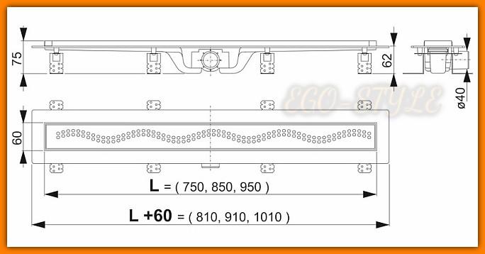 odwodnienie liniowe APZ8-750 SIMPLEALCAPLAST 75 cm