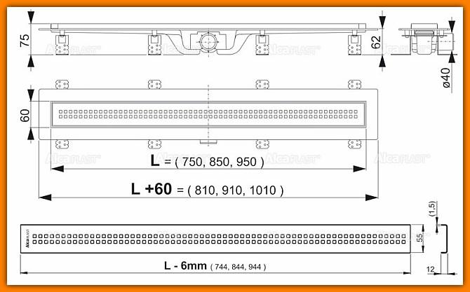 odpływ liniowy APZ9-750 AlcaPLAST 75 cm odwodnienie łazienkowe z rusztem