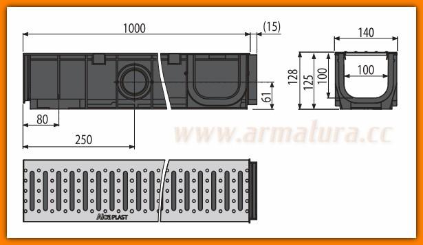 Odpływ Liniowy Garażowy Do Garażu Dł 3 M Zestaw Avz G101 Alcaplast