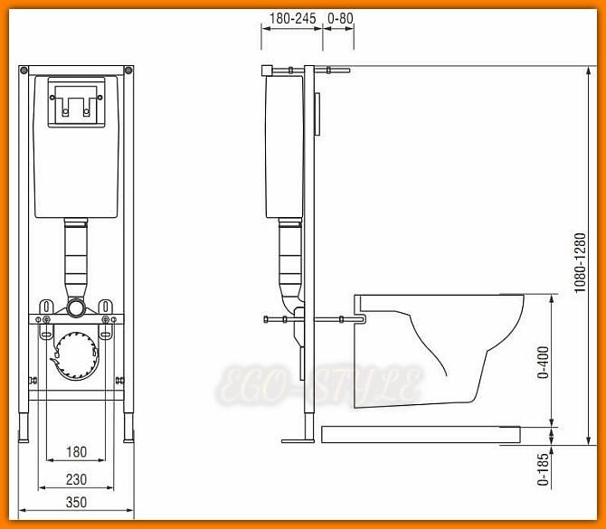 Stelaż podtynkowy AQUA K97-006 do zabudowy lekkiej CERSANIT