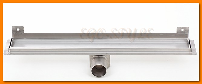 odpływ liniowy do zabudowy płytką z wygiętą flanszą 600KNWF_m KESMET  L-60 cm odwodnienie z syfonem metalowym