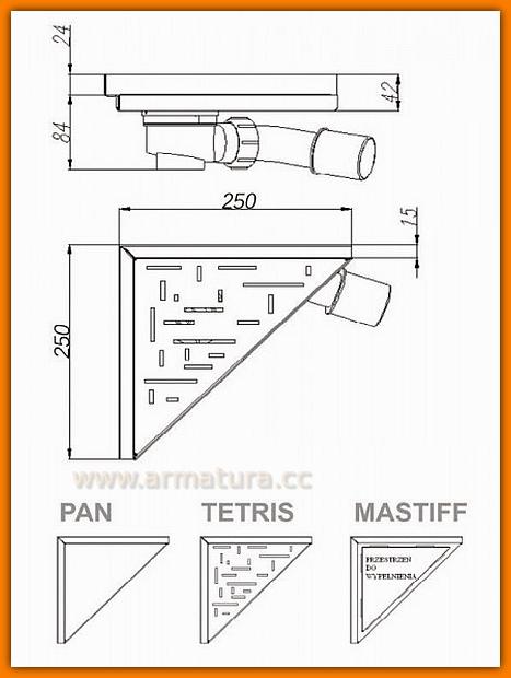 LORAC MASTIF odpływ narożny trójkątny TOL-M25