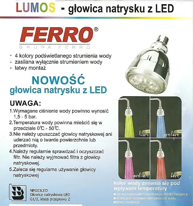głowica natrysku LUMOS NPG03LED FERRO z diodami LED - kolorowy strumień wody