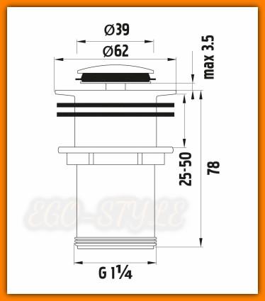 korek umywalkowy, zawór spustowy, S283B FERRO, klik-klak, korek automatyczny