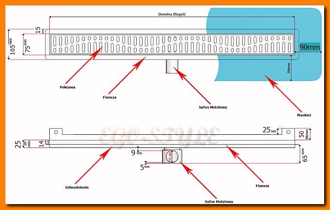 odwodnienie liniowe KESMET 1200KNWF_m ścienne, odpływ łazienkowy