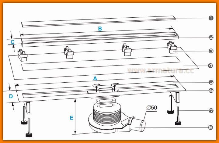 Odpływ liniowy SLIM WDO-600-ZR-5502 odwodnienie WINKIEL DESIGN 60 cm