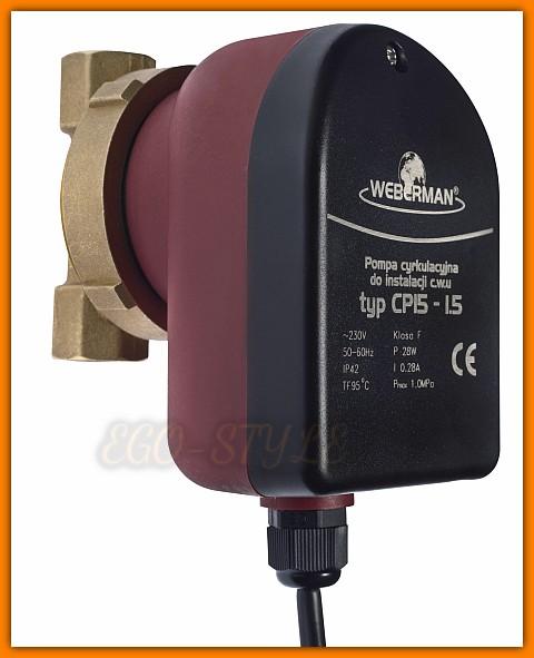 pompa cyrkulacyjna C.W.U. WEBERMAN 0101W typ CP 15-1.5