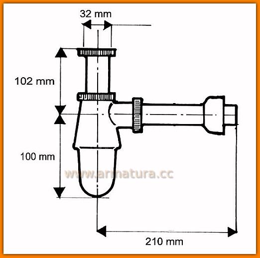 Pół syfon umywalkowy 200CB McAlpine chrom butelkowy