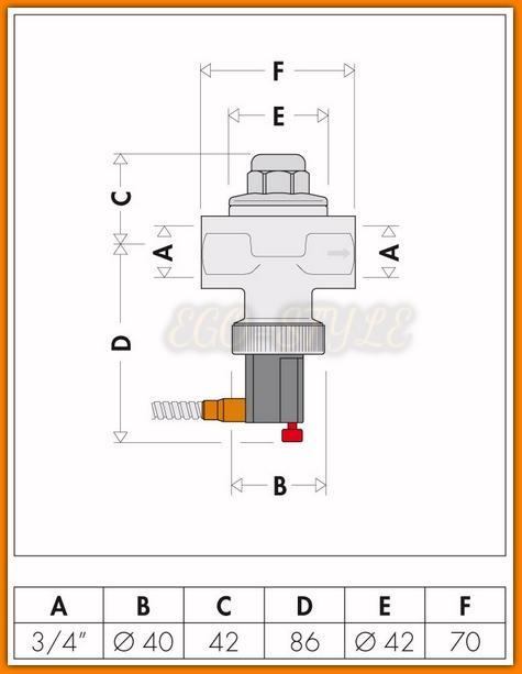 Zawór upustowy bezpieczeństwa termicznego 543513 CALEFFI do kotłów na paliwa stałe