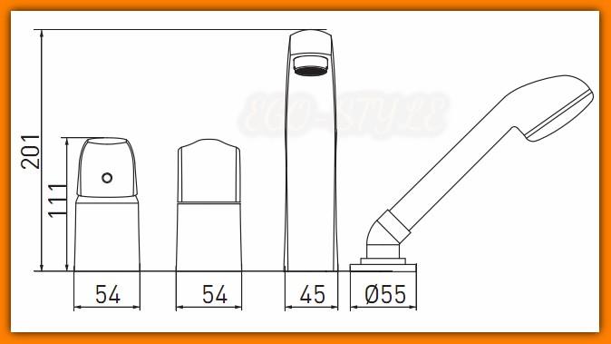 bateria wannowa METALIA 57345.0 FERRO 4-otworowa