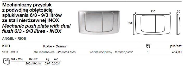 przycisk spłuczki podtynkowej 828801 METAL stalowy Angel Rios VALSIR INOX