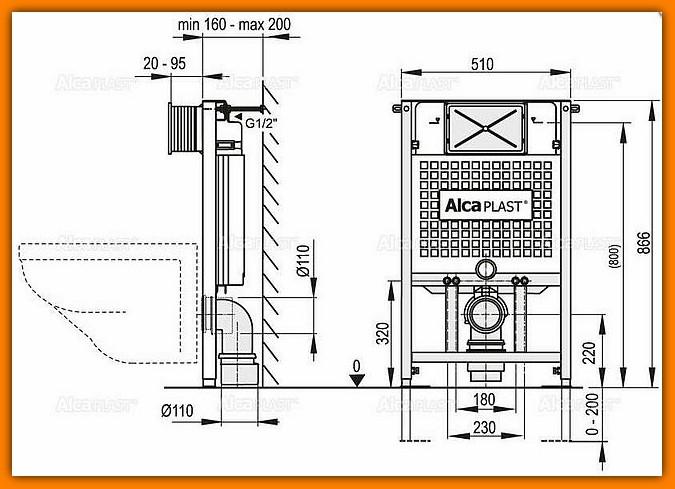 spłuczka A101/850 ALCAPLAST podtynkowa stelaż do zabudowy lekkiej