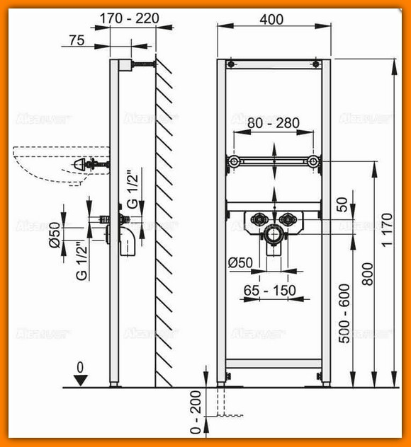 stelaż umywalki A104/1200 ALCAPLAST rama montażowa