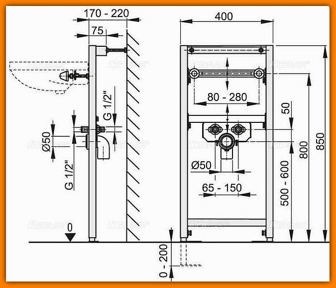 Stelaż A104/850 ALCAPLAST rama montażowa do umywalki